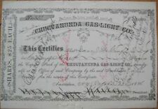 1886 Stock Certif: Chuctanunda Gas Light- Amsterdam, NY