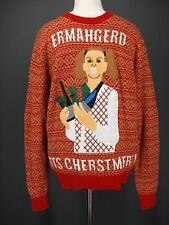 Christmas Sweater XL Mens Red Ermahgerd Erts Cherstmers Meme ALEX STEVENS