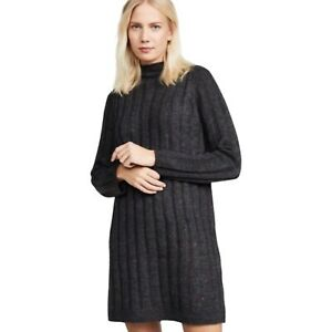 Madewell Women Small black Donegal Rolled Mockneck Ribbed Sweater Dress
