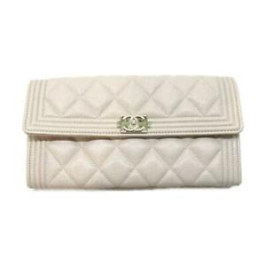 CHANEL CC Flap wallet Purse A80286 Caviar skin leather Beige Used Coco