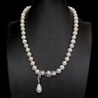 Cultured+10-11m+White+Potato+Pearl+Necklace+Cz+Pave+Shell+Pearl+Pendant+20%22