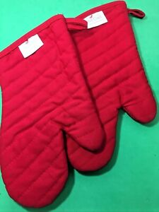 Set of 2 ALL-CLAD Red Quilted Oven Mitts High Quality Professional Never Used