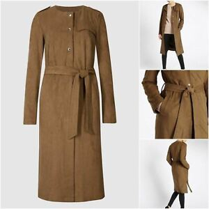 RRP £100, Ex Per Una  Women Tan Brown Suedette Longline Duster Coat, SZ 12,14,16