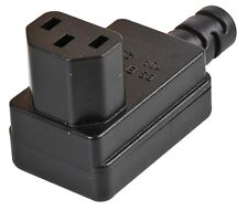 Black Rewireable IEC C13 Plug Right Angled Replacement
