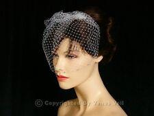 "Handmade White 9"" Bridal AB Rhinestones Wedding Birdcage Blusher Veil"