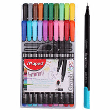Maped Graph' Peps 20 Assorted Coloured Fineliners Metal Clad Tip 0.4mm FinePoint