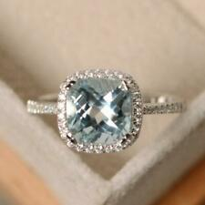 Resizable Natural Diamond Blue Aquamarine Halo Ring Solid 18K 14K 10K White Gold
