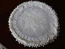 """Vintage Crocheted  Round Pillow Cover Case. Excellent Pre Owned.  14""""Ecro White"""