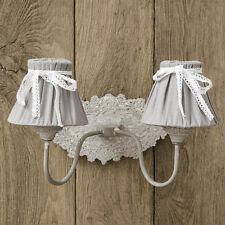 Wandlampe EMILE ecru grau 2-armig im Landhausstil shabby chic Wandleuchte Lampe