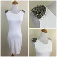 BEBE ADDICTION Womens XS White Silver Embellished Shoulder CAROLINE Dress