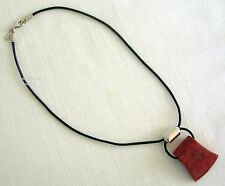 """SILPADA """"CARDINAL RULE"""" CORAL, LEATHER & STERLING SILVER NECKLACE~N0965~RETIRED"""
