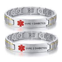 Silver Men Medical Alert Magnet Bracelet Therapy Chain Bangle Life Saving T1 T2