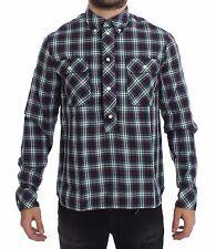 NWT $340 DOLCE & GABBANA D&G Multicolor Checkered Button Casual Shirt s. 41 / L