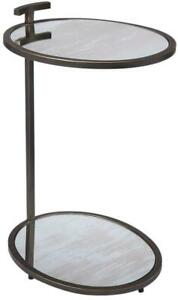 SIDE TABLE CONTEMPORARY BLACKENED GOLD POWDER COAT ANTIQUE GRAY DISTR