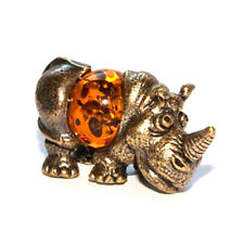 "Figure ""Rhinoceros"" of brass and amber,very detailed,gift idea,decoration"
