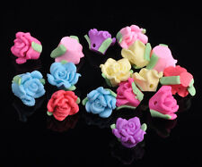 30pcs 11~13mm Polymer Fimo Clay Charms Rose Flower Spacer Beads Findings Mixed
