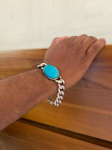 Turquoise & Sterling Silver Link Bracelet Sri Lankan Made