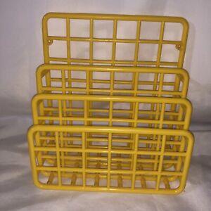 Vintage Yellow Plastic Yaffa Mini Catch-All 1983 Basic Line Wall Mount Organizer