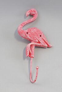 9977539 Eisenguss Figur Wand- Haken Flamingo bunt rustikal 24x12cm