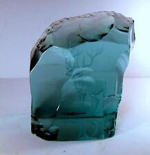 Hand Cleaved Iceberg Glass Engraved Reindeer by Hovmantorp Sweden Sgnd A Soltors