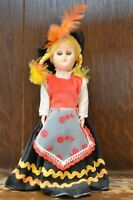 Fabulous VINTAGE Costume Doll of a Lady in a Red And Feather Cap - 18cm Tall