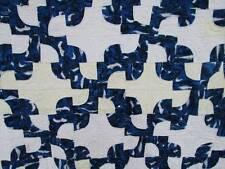 Vintage Quilt Hand Stitched Blue Navy Black Drunkard's Path White Quilted 76x71