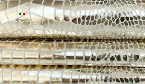 METALLIC PLATINUM MIRROR CROCODILE TEXTURED goatskin leather 7+sqf 0.7mm #A8521