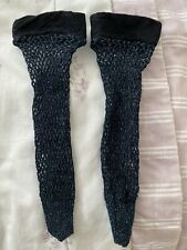 New Ladies Black & Blue Glitter Fishnet Ankle Socks One Size