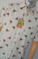 Run & Fly Men's Retro Bumble Bee Print Short Sleeve Shirt 60s 70s Vintage Indie