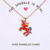 Glaze The Sparkled Unicorn Rainbow Horse Pendants Necklaces Gift Novelty New