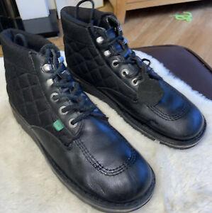 Kickers  Black Leather Boots Shoes - Size Uk 9 Eu 43