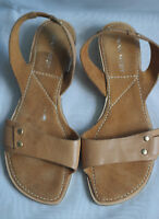 NINE WEST WOMENS BROWN LEATHER FLAT SLINGBACK SANDALS SZ:UK-3.5 US 6W (WHS358)
