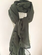 WINTER GREEN COTTON BLEND SCARF WITH TASSLES A/W NEW IN BNWT.FREE P&P UK