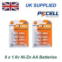 PKCELL Ni-Zn 8 x 1.6V AA 2500 mwh High Performance Recharable Batteries