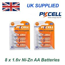 PKCELL Ni-Zn 8 x 1.6V AA 2500 mwh High Performance Recharable Batteries