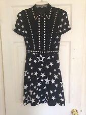 NWT New Diesel Black Gold Designer Black White Studded Star Print Dress 36 0