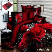 4Pcs 3D Rose Bedding Set Quilt Cover Pillowcase Bed Sheet Queen Duvet Cover Warm
