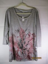 NWT Avenue Gray/Purple Lightweight 3/4 Sleeve Poly/Spandex Top T95 - Size 18/20