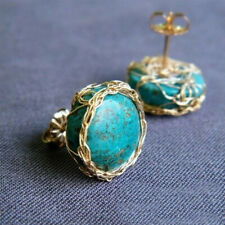 18K Gold Plated Turquoise Ear Stud Women Earrings Wedding Engagement Jewelry