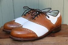 Footjoy Classics Made in USA White Brown Wingtip Two Tone Golf Shoe Women's 7.5C