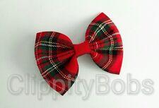 "LADIES HANDMADE 4"" ROYAL STEWART RED & GREEN TARTAN FABRIC BOW HAIR CLIP STYLE"