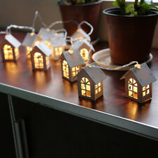 LED Light Wood HOUSE Cute Xmas Tree Hanging Ornaments Home Holiday Decoration
