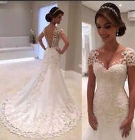 UK 2019 White Cap Sleeve Beaded Lace Pearls Bridal Mermaid Wedding Dress size