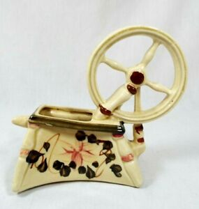 Vintage Art Pottery Small Antique Spinning Wheel Planter Detailed Made In Japan