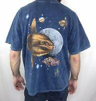 Vintage 90s Outer Space Aquarium T Shirt Fish Planets Oceanic Color Size XL 1999