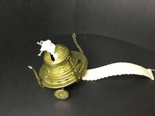 B&P MARKED  BRASS BURNER FOR OIL LAMP EMB FLOWERS With Wick
