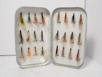 Vintage Wheatley Foam Lined Fly Box Case & Various Salmon Flies