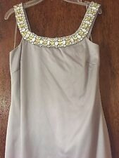 Js Boutique Silver Dress Sz 4 Beaded Embellished Crystal Yellow Gray Satin