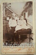 Antique Cabinet Card Photograph Pittsburg, Kansas little boy shaved head, girl