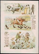 1891-antica stampa CACCIA SPORTIVO CALENDARIO autunno estate Cavallo Hound (291)